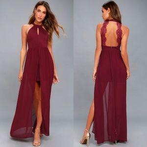 Lulu's My Beloved Lace Burgundy Maxi Dress